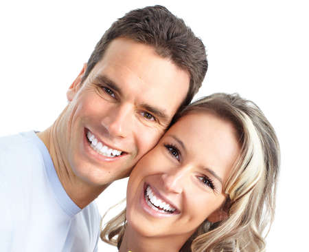 teeth smile: Happy smiling couple in love. Over white background