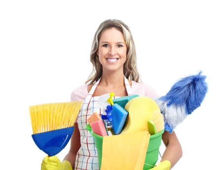 Young smiling housewife cleaner. Over white background Stock Photo - 8868085