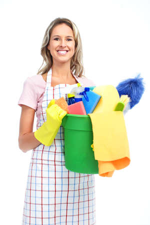 Young smiling housewife cleaner. Over white background Zdjęcie Seryjne - 8868174