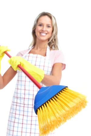 Young smiling housewife cleaner. Over white background