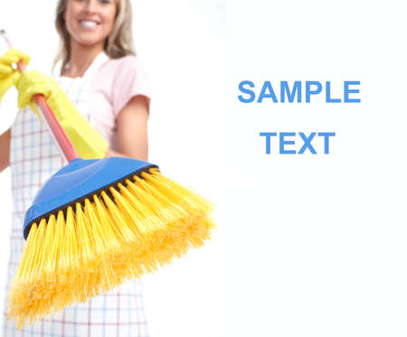 charwoman: Young smiling housewife cleaner. Over white background