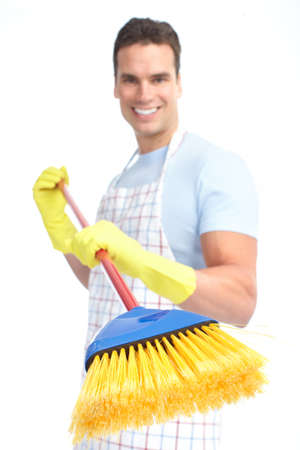 cleaner man with a broom. Isolated over white background