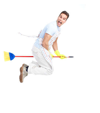 cleaner man with a broom. Isolated over white background  photo