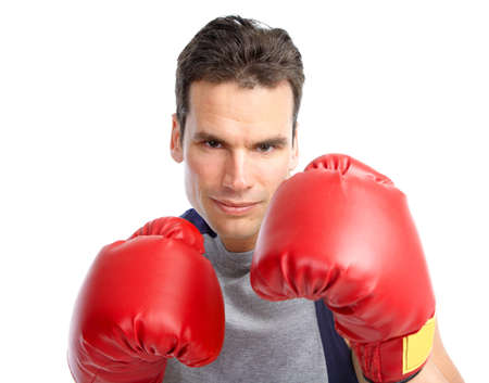Smiling young boxer  man. Isolated over white background  photo