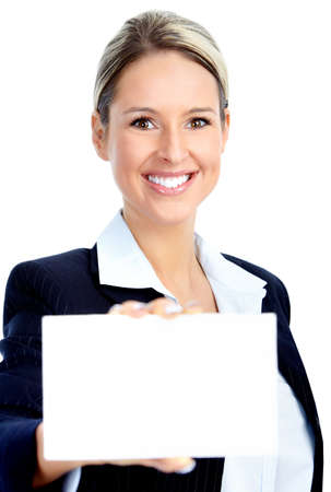 Pretty business woman holding a white card  photo