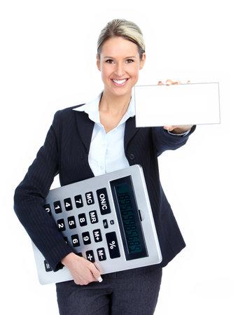 rendement: Accountant business vrouw met een grote calculator.  Op witte achtergrond  Stockfoto
