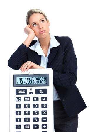 Accountant business woman with a big calculator.  Over white background  photo