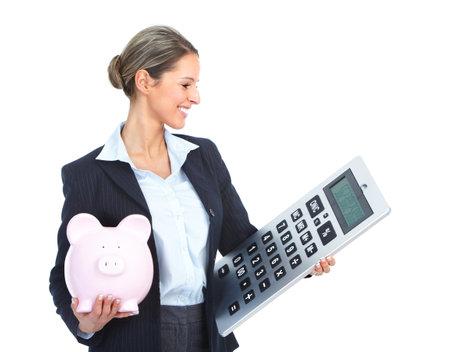 bookkeeping: Mujer de contador de negocios con una gran calculadora y una hucha