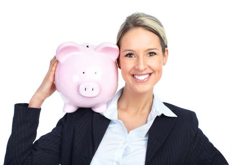 Smiling business woman with a piggy bank. Isolated over white background  photo