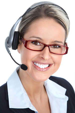 Beautiful  call center operator with headset. Isolated over white background 