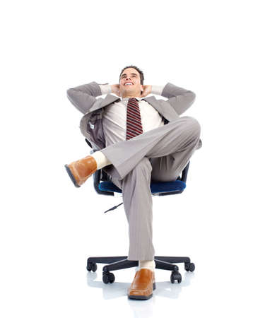 Business relax of the businessman. Isolated over white background