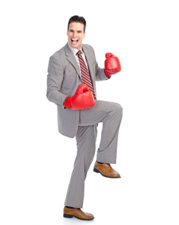 Handsome businessman boxer.  Isolated over white background  photo