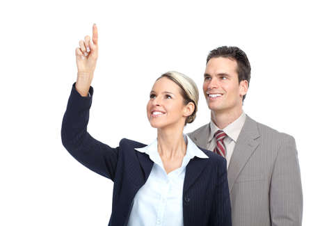 Smiling business team working. Over white background Stock Photo - 8868352
