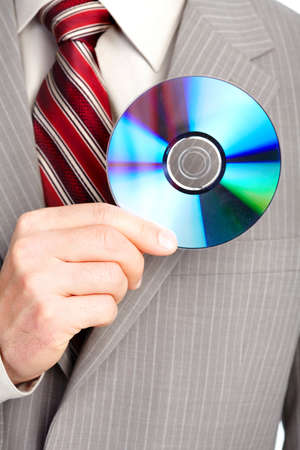 cd rom: businessman with cd. Close up