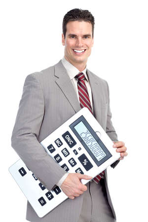 Accountant business man  with a big calculator.  Over white background  photo