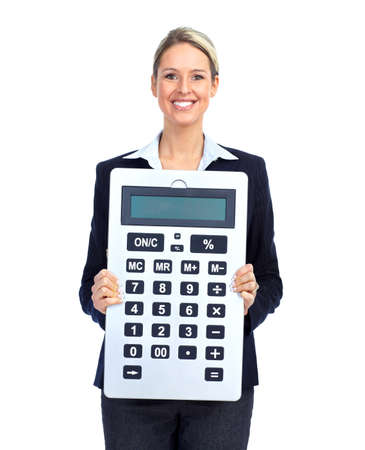 accountants: Accountant business woman with a big calculator.  Over white background