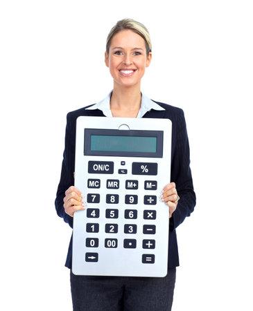 bookkeeper: Mujer de negocios de contador con una gran calculadora.  Sobre fondo blanco