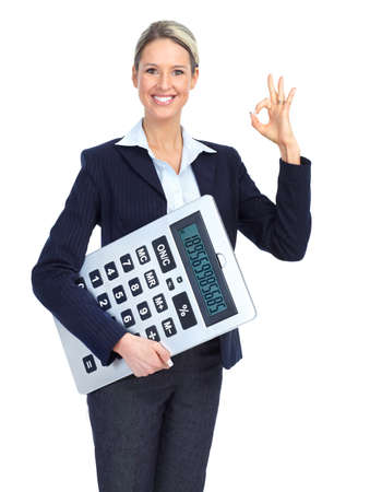 Accountant business woman with a big calculator. Over white background Stock fotó
