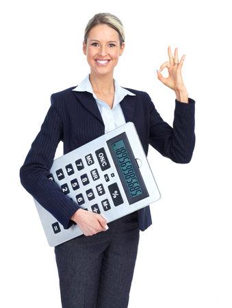 Mujer de negocios de contador con una gran calculadora.  Sobre fondo blanco Foto de archivo
