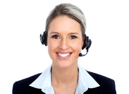 Beautiful  call center operator with headset. Isolated over white background   Stock Photo