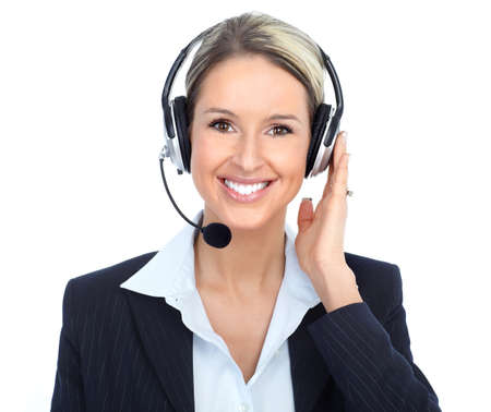 Beautiful  call center operator with headset. Isolated over white background   Imagens