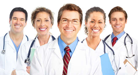 Smiling doctors with stethoscopes. Isolated over white background