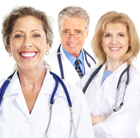 Smiling doctors with stethoscopes. Isolated over white background Stock Photo - 8950279