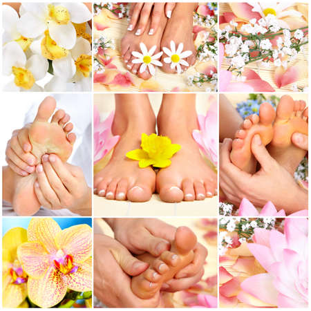 woman foot: feet massage Stock Photo