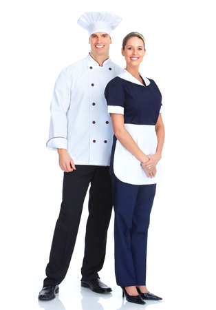 hotel staff: Chef and waitress