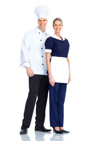 Chef and waitress