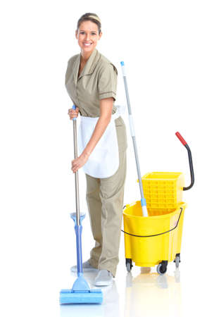 house cleaner: housewife Stock Photo