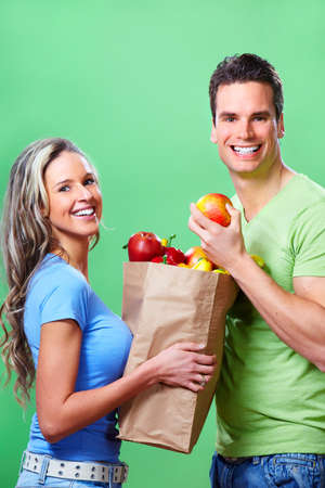 shopping woman with a bag of food Stock Photo - 9050265