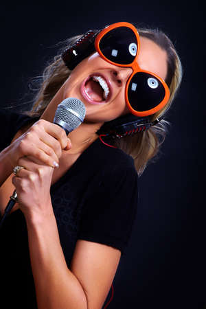 Karaoke singing woman  photo