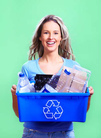 woman with a recycle bin photo
