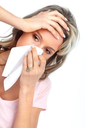 al�rgico: La gripe, alergia Foto de archivo