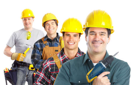 Contractors workers.  Isolated over white background.