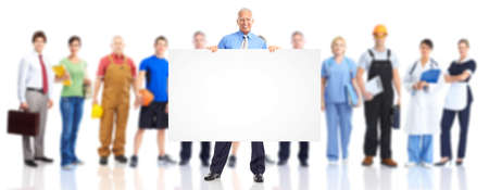 Business man with poster and large group of workers. Stock Photo - 9109400