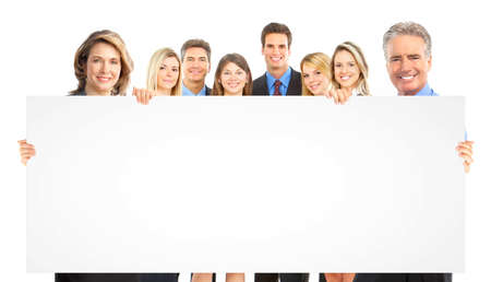 Business peole team with placard. Stock Photo - 9109459