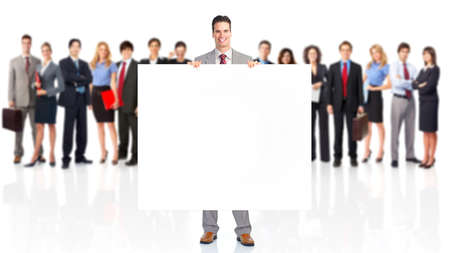 bill board: Large group of business people with poster.  Stock Photo