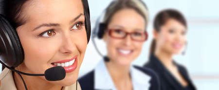 customer service representative: Business woman with headset. Stock Photo