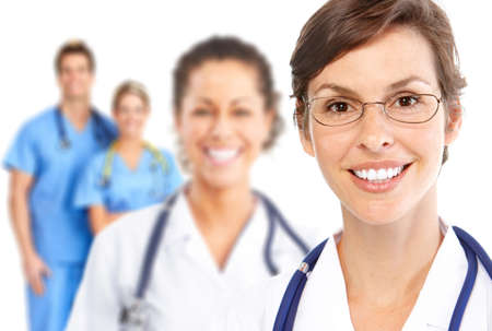 medical doctors: Doctor. Medical team.  Isolated over white background.