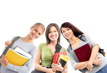 study group: Students. Isolated over white background. Stock Photo