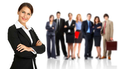 Businesswoman and large group of business people. Isolated over white background. Stock Photo - 9138652