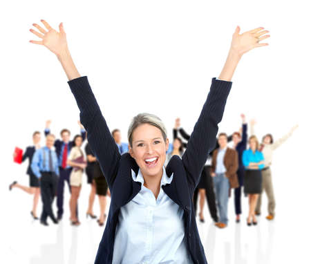 white work: Happy business woman and people team. Isolated over white background. Stock Photo