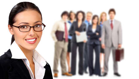 Businesswoman and group of business people. Isolated over white background.
