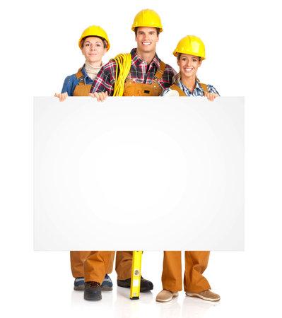 Bau. Beschäftigten Menschen Team. Isolated over white Background. Standard-Bild - 9138649