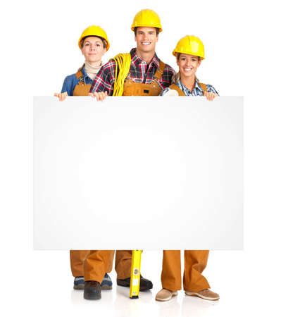 perforate: Construction. Workers people team. Isolated over white background.