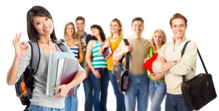 学生のグループです。白い背景の上に孤立しました。