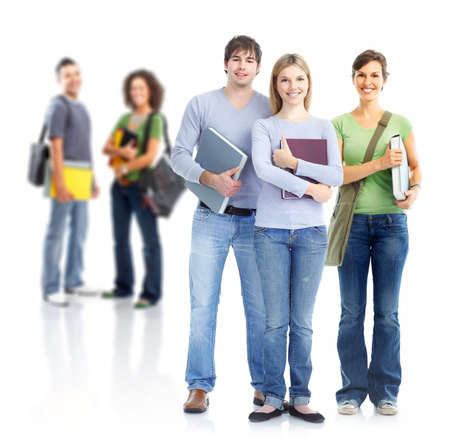 study group: Group of students. Isolated over white background.