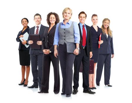 werk: Business mensen team.  Geïsoleerd op witte achtergrond. Stockfoto